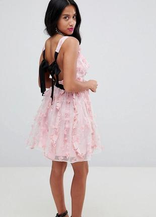 Платье мини с цветочным принтом для выпускного вечера asos design 3d