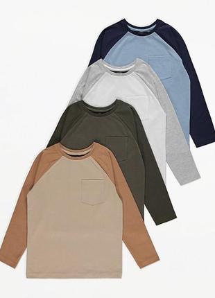 Новый реглан , лонгслив, тонкая кофточка , футболка с длинным рукавом george англия 92,98,104,110, 116. 1 шт