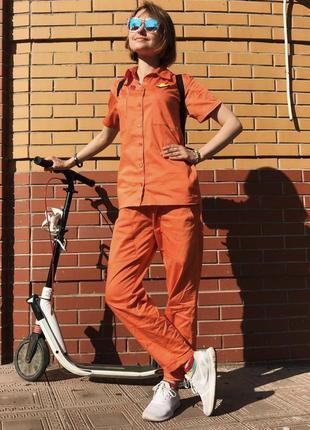 Костюм @don.bacon брюки и рубашка оранжевый чашка кофе латте арт