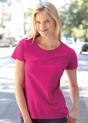 Розовая базовая футболка фуксия 100% хлопок размер