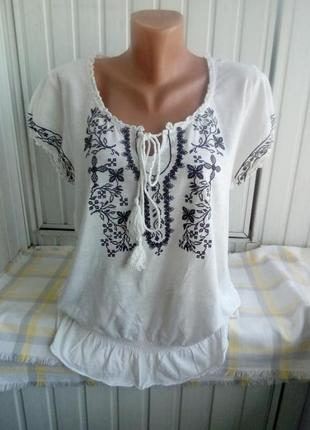 Коттоновая трикотажная блуза вишиванка большого рвзмера батал