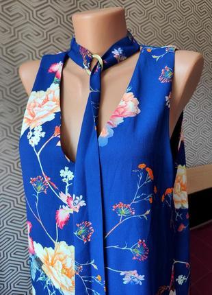 Блуза майка удлиненная яркая в цветочный принт легкая river island размер 12