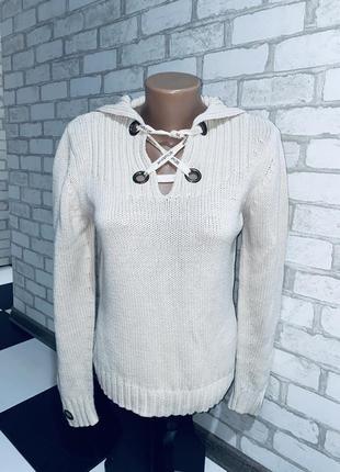 Бежевая вязаная кофта свитер kapalua  отделка люверсы