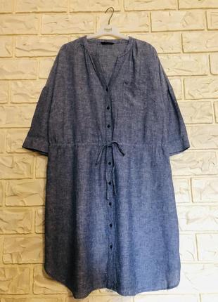 Платье( лён) для полных женщин