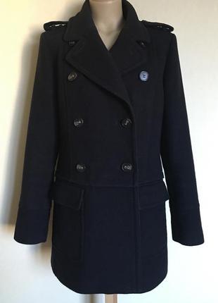 Доступно - темно-синее пальто в милитари стиле *marks&spencer* 12 р.