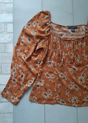 Вискозная блуза цветы ромашки с объёмным рукавом