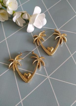 Сережки пальми, серьги подвески пальми от asos