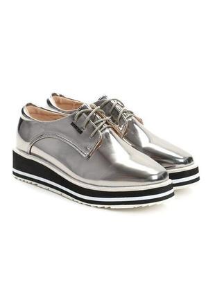Серебряные полуботинки/туфли на шнуровке better 38 размер