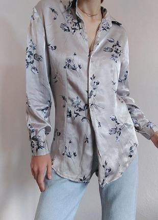 Сіра блуза сорочка essentials блузка рубашка в цвети zara mango bershka cos h&m