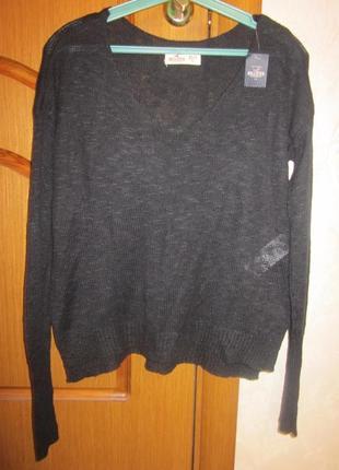 Легкий свитерок hollister размер xs-s. на летние вечера) новый с бирками, можно на одно плечо