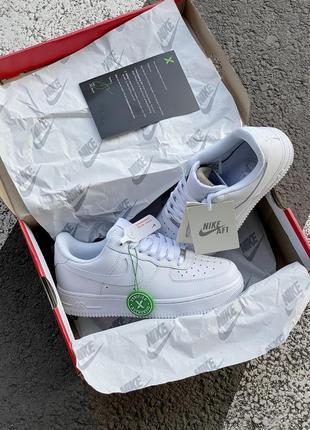 Шикарные мужские кроссовки nike air force 1 low white белые кросівки8 фото