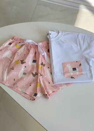 Хлопковая пижама женская футболка шорты и штаны с ламами розовая xs, s, m