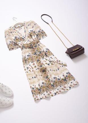 Стильное летнее цветочное платье миди с поясом и объемными рукавами asos