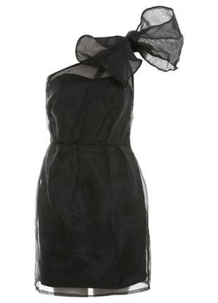 Черное вечернее/коктейльное платье с органзой на одно плече с бантом miss selfridge