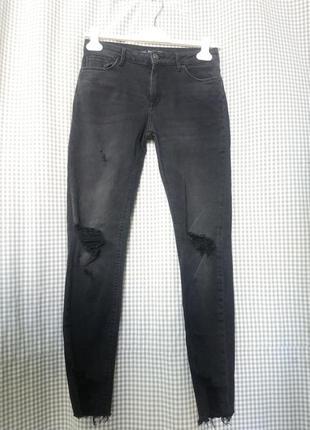 Джинсы штаны брюки скинни стрейч рваные протертые черные серые узкачи с бахромой