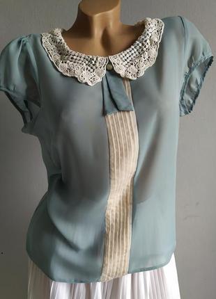 Винтаж! блуза с отложным воротником, limited edition