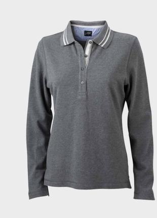 Модная футболка поло, с длинным рукавом, немецкого бренда, james nicholson. s