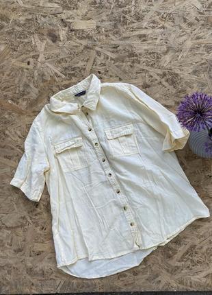 Натуральная льняная рубашка з карманами оверсайз свободная лимонная блуза