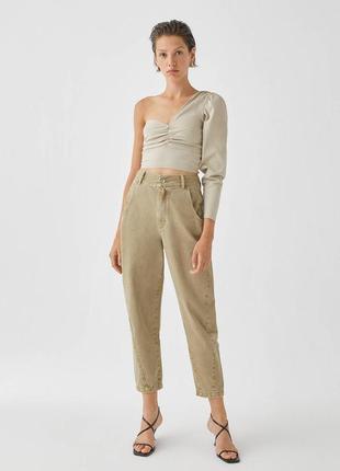 Джинси pull&bear джинсы slouchy mom высокая талия хаки