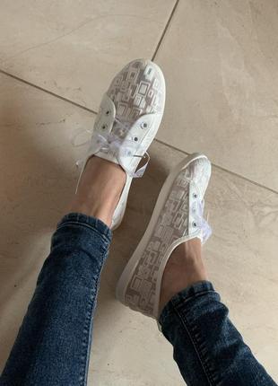 Легкие белые летние прозрачные кеды с фатиновыми шнурками,36-40