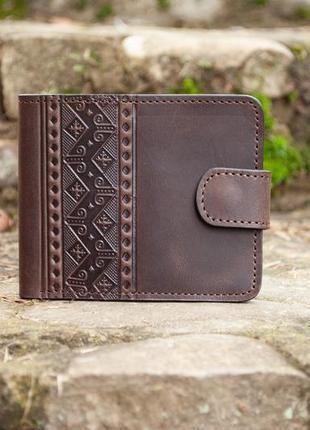 9 отделов. коричневый мужской кожаный кошелек с тиснением украинский стиль