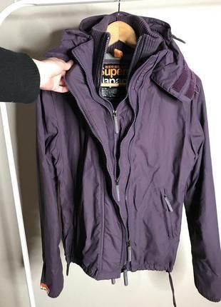 Весенняя демисезонная фирменная куртка superdry japan лыжная на флисе штормовка ветровка