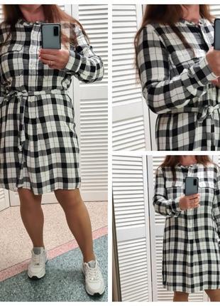 Платье рубашка в клетку gap на пуговицах