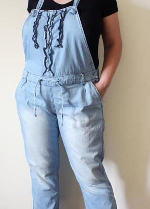 Голубой джинсовый летний комбинезон yes yes (размер 16/44)