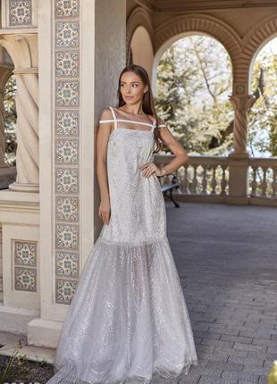 Серебристое вечернее, свадебное, венчальное платье