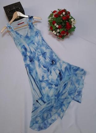 Голубе літнє шифонове плаття сукня з рюшами/голубое летние шифоновое платье с рюшами