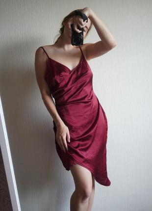 Шелковое атласное платье