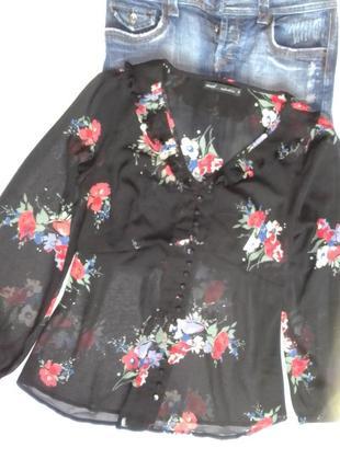 Шифоновая черная в цветы блуза гофре рюша большого размера