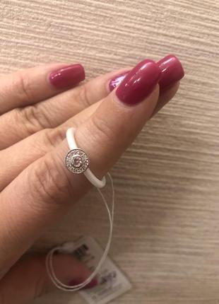 Кольцо серебро+керамика5 фото