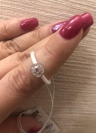 Кольцо серебро+керамика6 фото