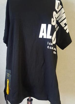 Черная свободная длинная женская футболка 4xl