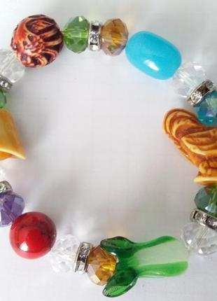 Браслет на руку из бусин муранского  стекла  ,камней  сварокского,натуральный камень.стеклянные  бу