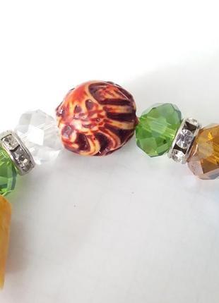 Браслет на руку из бусин муранского  стекла  ,камней  сварокского,натуральный камень.стеклянные  бу3 фото
