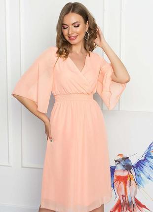 Легкое платье-миди с запахом/s m l xl +бесплатная доставка