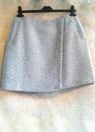 Теплая юбка на запах с карманами new look, хl
