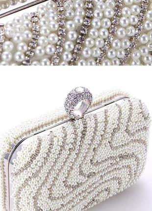 Красивый вечерний нарядный клатч сумочка на плечо камни жемчуг