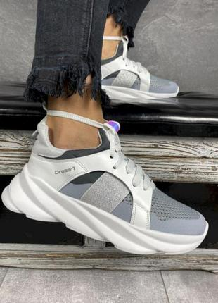 Кожаные летние кроссовки