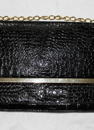 37eafab6591e Идеальный черный классический лакированный клатч на цепочке atmosphere