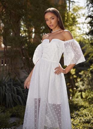 Белое воздушное свадебное, венчальное, вечернее платье с открытыми плечами