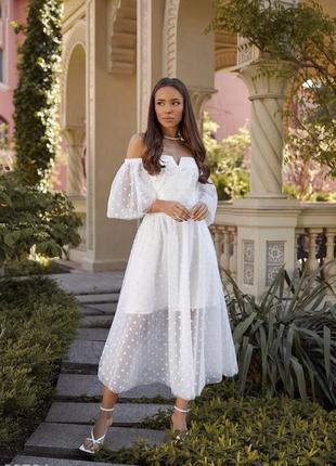 Белое воздушное свадебное, венчальное, вечернее платье с открытыми плечами7 фото
