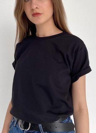 Однотонная футболка оверсайз из 100% котона унисекс //больше 30 цветов на выбор//🖤
