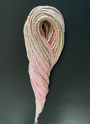 Шикарный комплект  афрокосичка и жгуты переход цвета песочный(613) розовый и белый из каникалона