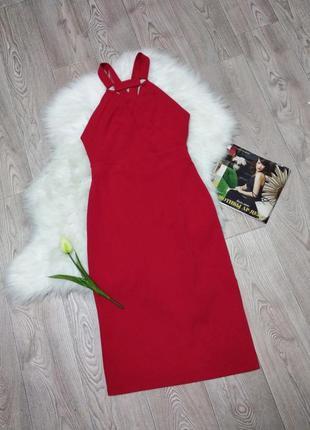 Женское вечернее миди платье с вырезом на спине