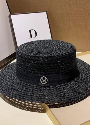 Черная шляпа женская канотье с ленточкой