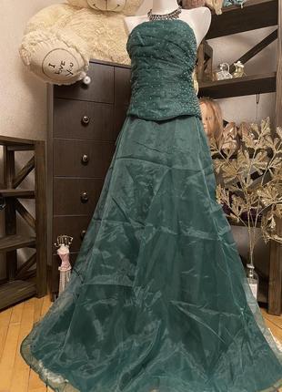Невероятно красивое выпускное вечернее изумрудное платье корсет