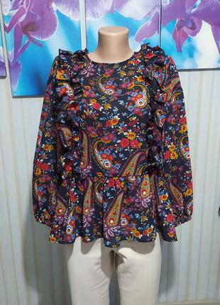 Шикарная блуза рюши баска обьемный рукав h&m